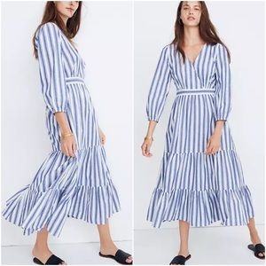 Madewell 3/4 Sleeve Tiered Midi Dress Ava Stripe 8